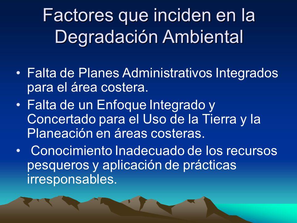 Factores que inciden en la Degradación Ambiental Falta de Planes Administrativos Integrados para el área costera. Falta de un Enfoque Integrado y Conc