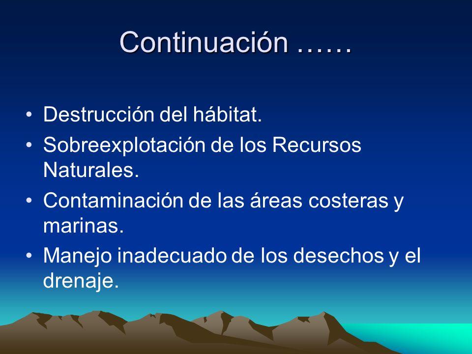 Continuación …… Destrucción del hábitat. Sobreexplotación de los Recursos Naturales. Contaminación de las áreas costeras y marinas. Manejo inadecuado
