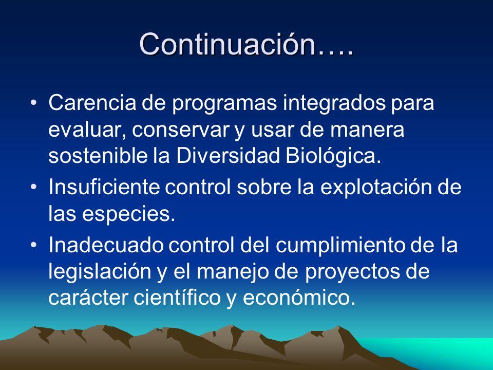 Continuación…. Carencia de programas integrados para evaluar, conservar y usar de manera sostenible la Diversidad Biológica. Insuficiente control sobr