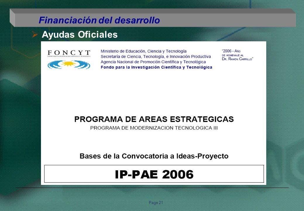 Page 21 Financiación del desarrollo Ayudas Oficiales