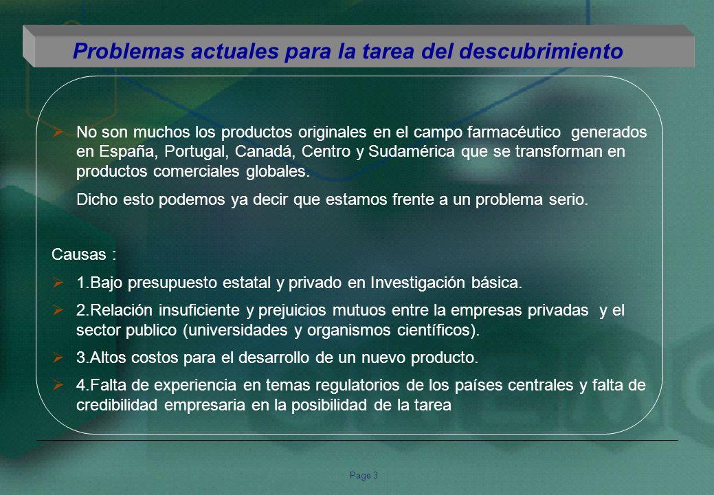 Page 3 No son muchos los productos originales en el campo farmacéutico generados en España, Portugal, Canadá, Centro y Sudamérica que se transforman en productos comerciales globales.