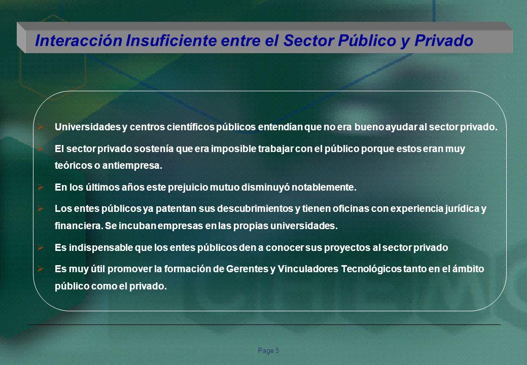 Page 5 Interacción Insuficiente entre el Sector Público y Privado Universidades y centros científicos públicos entendían que no era bueno ayudar al sector privado.