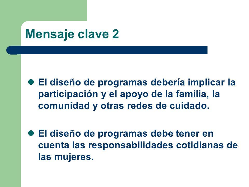 Mensaje clave 2 El diseño de programas debería implicar la participación y el apoyo de la familia, la comunidad y otras redes de cuidado. El diseño de