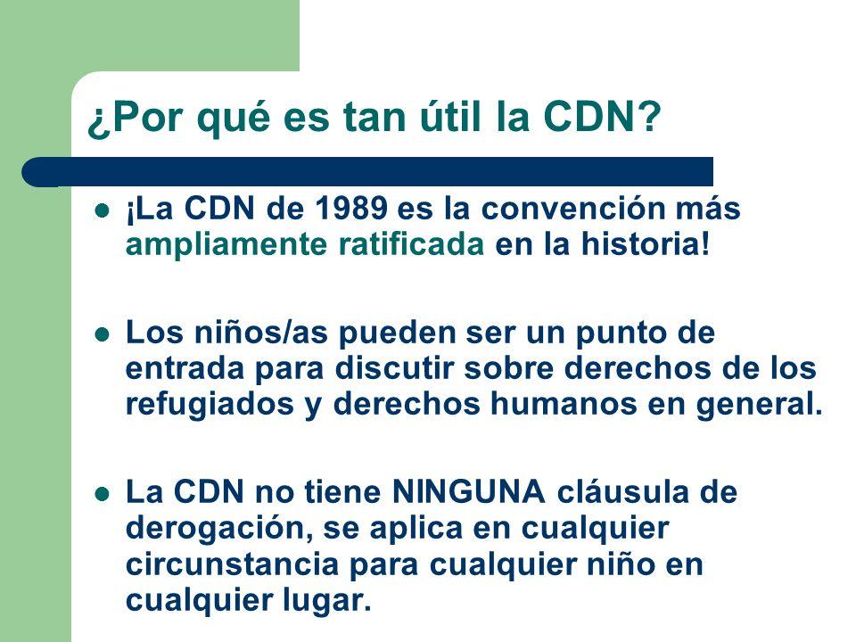 ¿Por qué es tan útil la CDN? ¡La CDN de 1989 es la convención más ampliamente ratificada en la historia! Los niños/as pueden ser un punto de entrada p