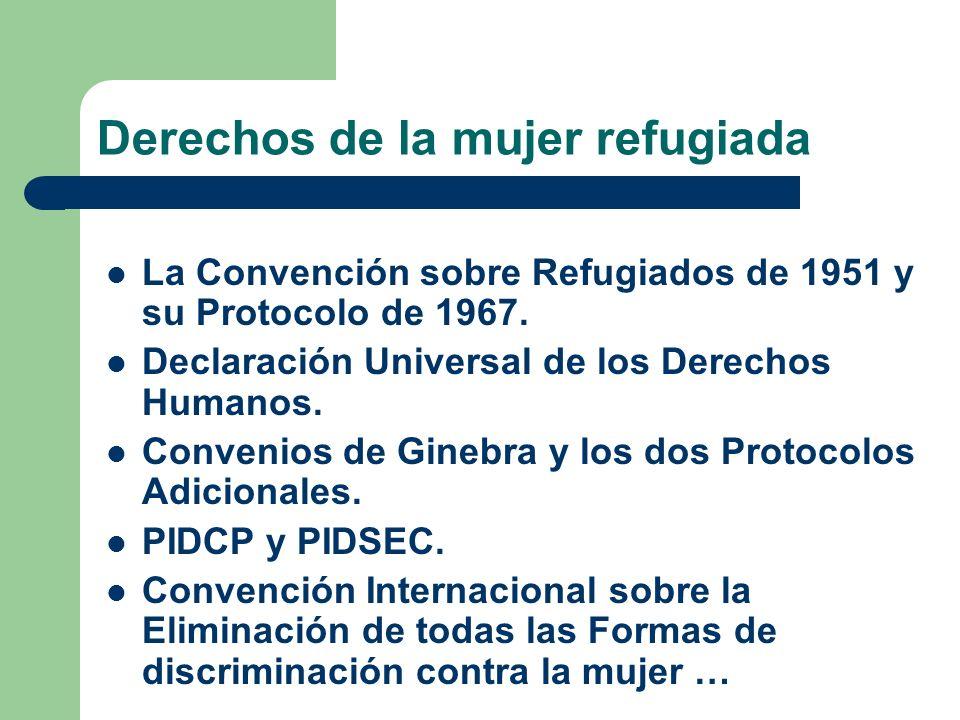 Derechos de la mujer refugiada La Convención sobre Refugiados de 1951 y su Protocolo de 1967. Declaración Universal de los Derechos Humanos. Convenios