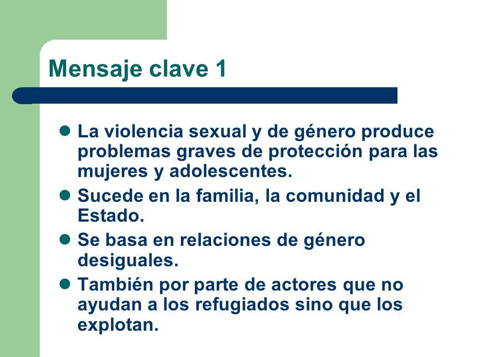 Mensaje clave 1 La violencia sexual y de género produce problemas graves de protección para las mujeres y adolescentes. Sucede en la familia, la comun