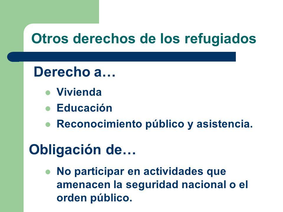 Otros derechos de los refugiados Vivienda Educación Reconocimiento público y asistencia. No participar en actividades que amenacen la seguridad nacion