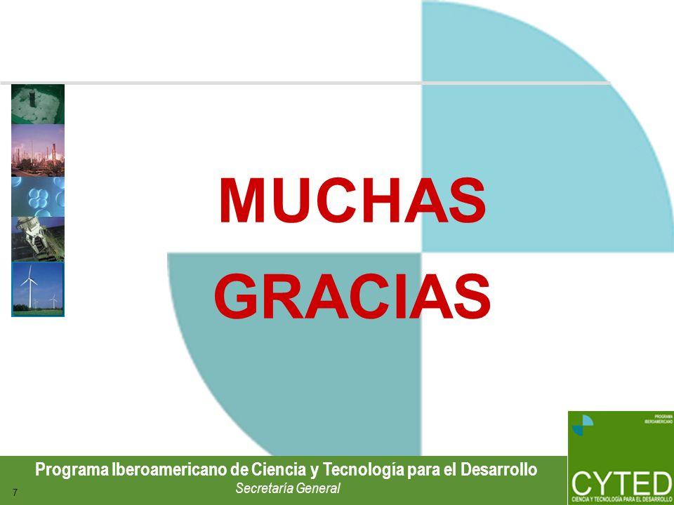 Programa Iberoamericano de Ciencia y Tecnología para el Desarrollo Secretaría General 7 MUCHAS GRACIAS