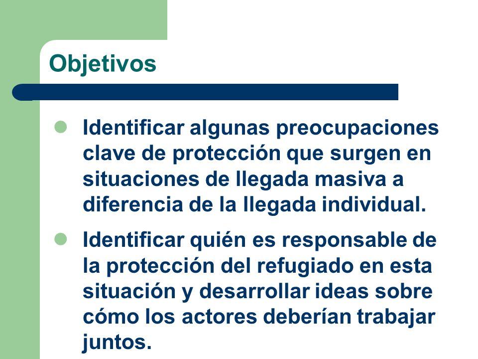 Objetivos Identificar algunas preocupaciones clave de protección que surgen en situaciones de llegada masiva a diferencia de la llegada individual.