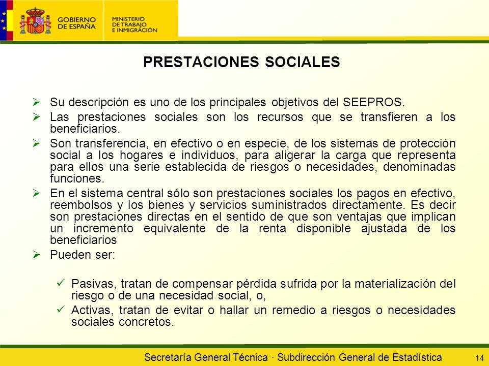 Secretaría General Técnica · Subdirección General de Estadística 14 PRESTACIONES SOCIALES Su descripción es uno de los principales objetivos del SEEPR