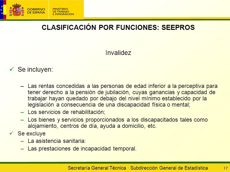 Secretaría General Técnica · Subdirección General de Estadística 17 CLASIFICACIÓN POR FUNCIONES: SEEPROS Invalidez Se incluyen: –Las rentas concedidas