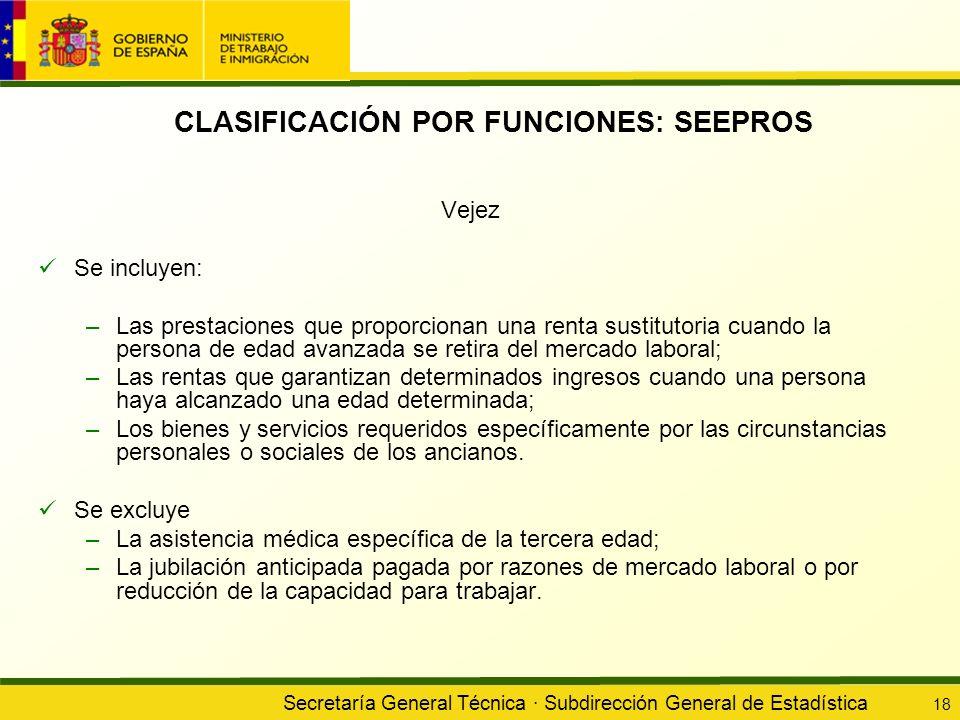 Secretaría General Técnica · Subdirección General de Estadística 18 CLASIFICACIÓN POR FUNCIONES: SEEPROS Vejez Se incluyen: –Las prestaciones que prop
