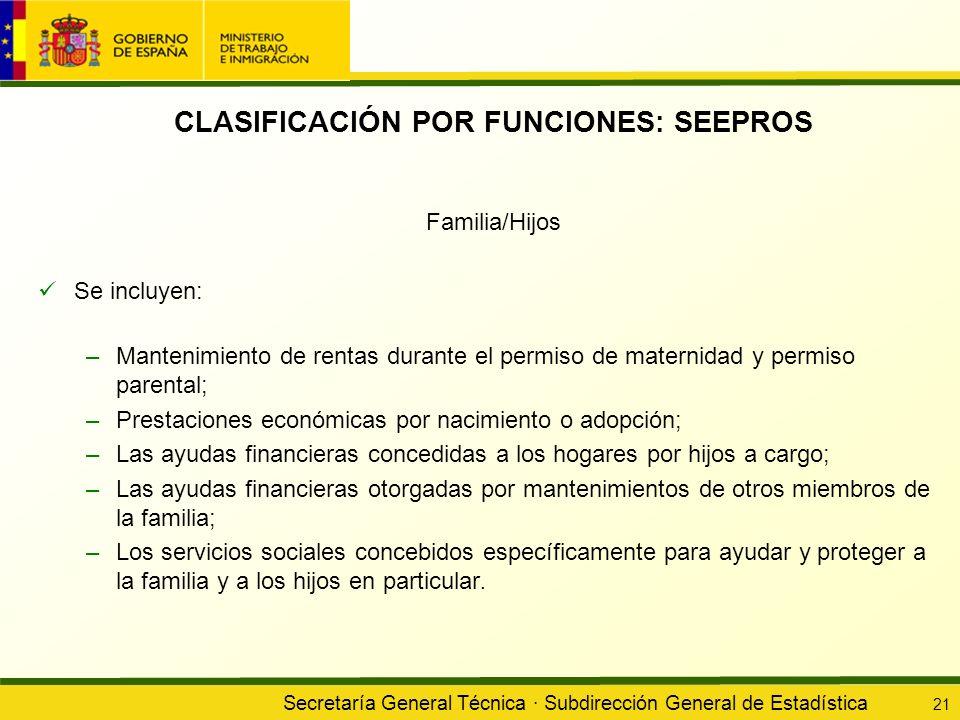 Secretaría General Técnica · Subdirección General de Estadística 21 CLASIFICACIÓN POR FUNCIONES: SEEPROS Familia/Hijos Se incluyen: –Mantenimiento de