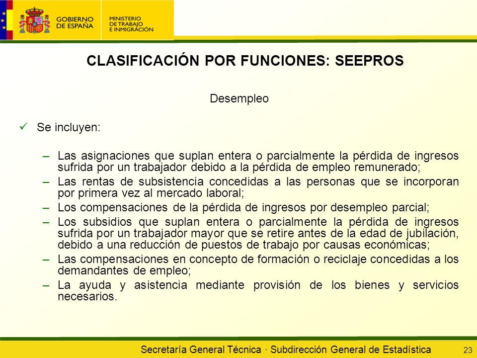 Secretaría General Técnica · Subdirección General de Estadística 23 CLASIFICACIÓN POR FUNCIONES: SEEPROS Desempleo Se incluyen: –Las asignaciones que