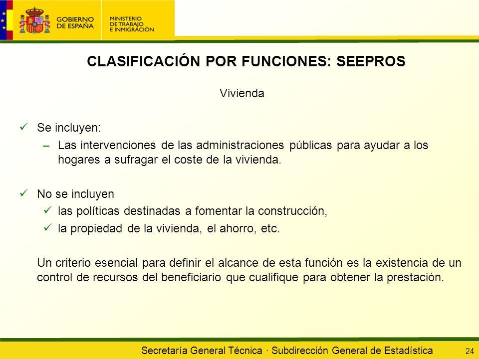 Secretaría General Técnica · Subdirección General de Estadística 24 CLASIFICACIÓN POR FUNCIONES: SEEPROS Vivienda Se incluyen: –Las intervenciones de