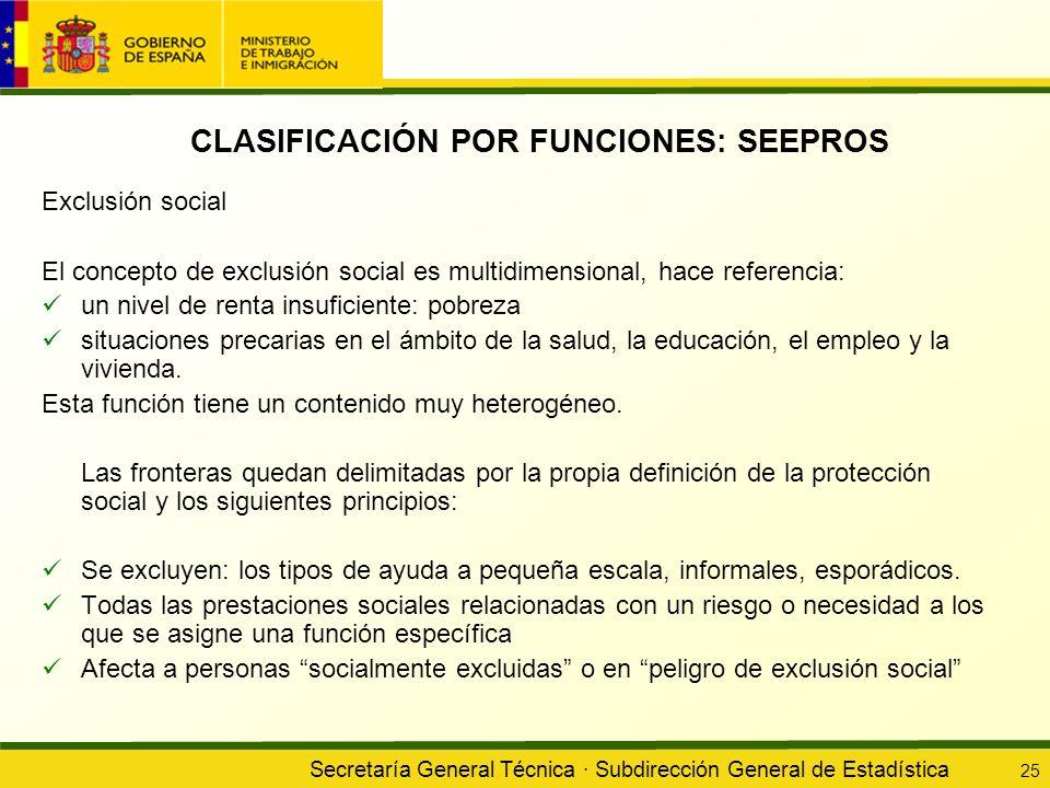 Secretaría General Técnica · Subdirección General de Estadística 25 CLASIFICACIÓN POR FUNCIONES: SEEPROS Exclusión social El concepto de exclusión soc
