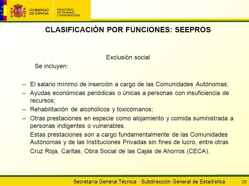 Secretaría General Técnica · Subdirección General de Estadística 26 CLASIFICACIÓN POR FUNCIONES: SEEPROS Exclusión social Se incluyen: –El salario mín