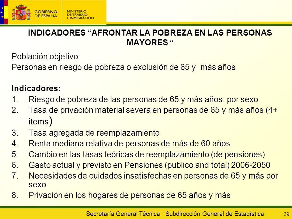 Secretaría General Técnica · Subdirección General de Estadística 39 INDICADORES AFRONTAR LA POBREZA EN LAS PERSONAS MAYORES Población objetivo: Person