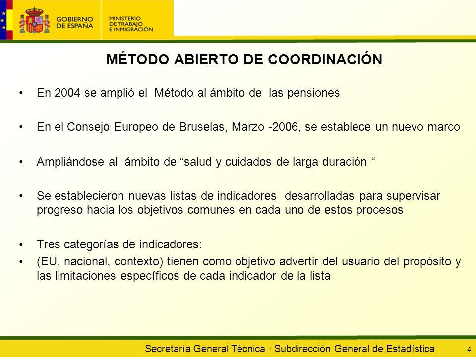 Secretaría General Técnica · Subdirección General de Estadística 4 MÉTODO ABIERTO DE COORDINACIÓN En 2004 se amplió el Método al ámbito de las pension