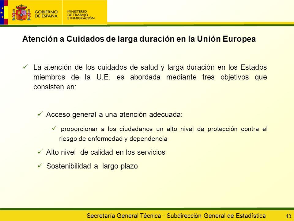 Secretaría General Técnica · Subdirección General de Estadística 43 Atención a Cuidados de larga duración en la Unión Europea La atención de los cuida