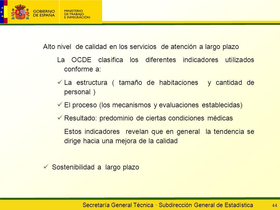 Secretaría General Técnica · Subdirección General de Estadística 44 Alto nivel de calidad en los servicios de atención a largo plazo La OCDE clasifica