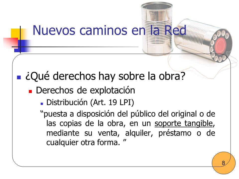Nuevos caminos en la Red ¿Qué derechos hay sobre la obra? Derechos de explotación Distribución (Art. 19 LPI) puesta a disposición del público del orig
