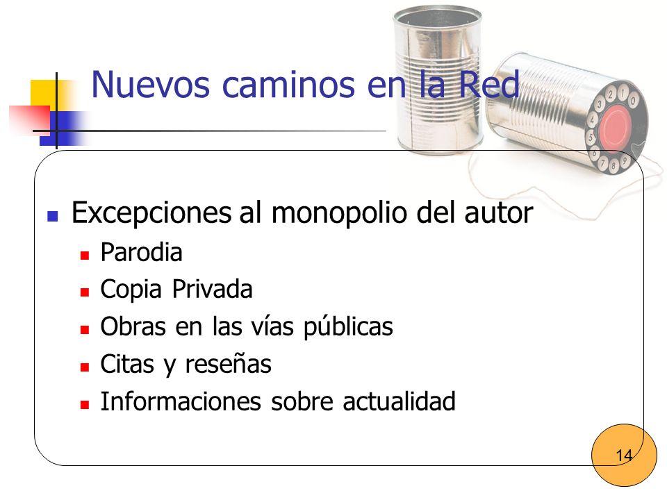 Nuevos caminos en la Red Excepciones al monopolio del autor Parodia Copia Privada Obras en las vías públicas Citas y reseñas Informaciones sobre actua