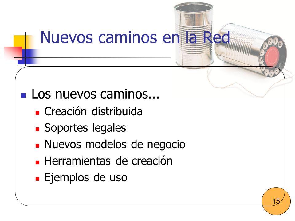Nuevos caminos en la Red Los nuevos caminos... Creación distribuida Soportes legales Nuevos modelos de negocio Herramientas de creación Ejemplos de us