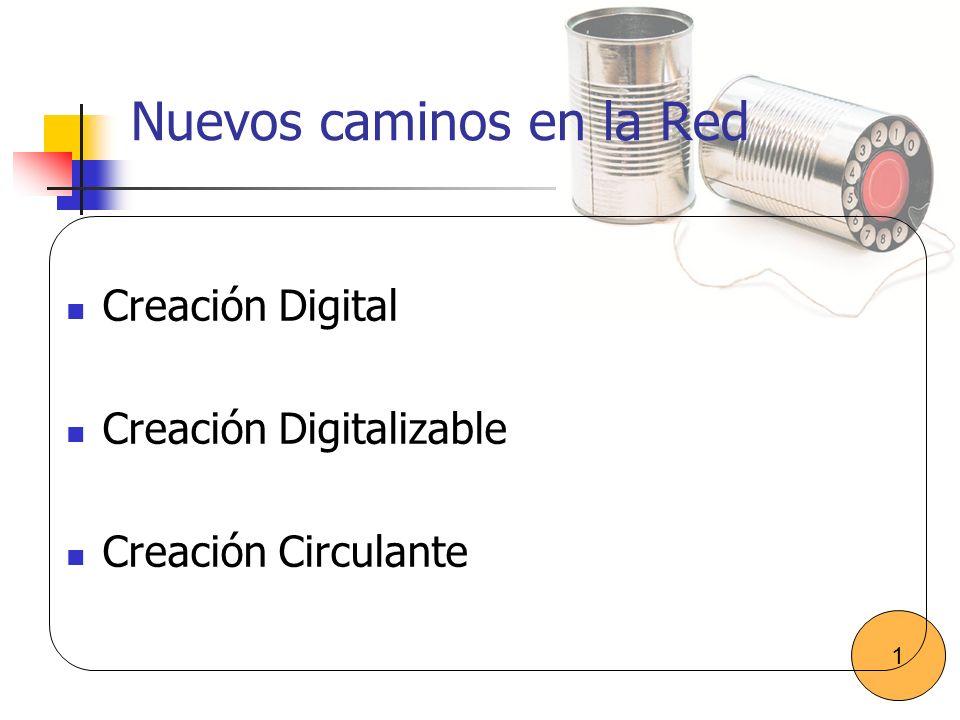 Nuevos caminos en la Red Creación Digital Creación Digitalizable Creación Circulante 1