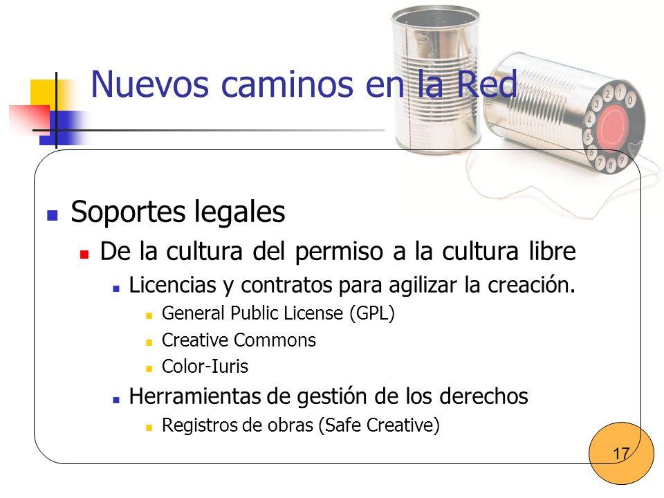 Nuevos caminos en la Red Soportes legales De la cultura del permiso a la cultura libre Licencias y contratos para agilizar la creación. General Public