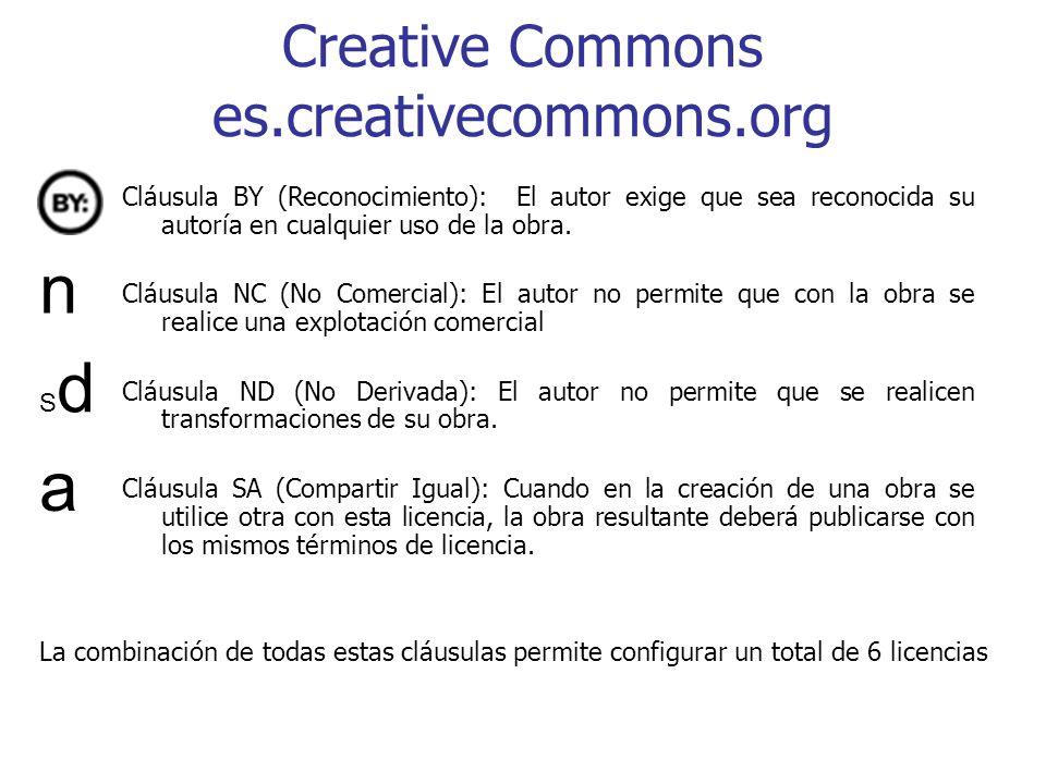 Creative Commons es.creativecommons.org Cláusula BY (Reconocimiento): El autor exige que sea reconocida su autoría en cualquier uso de la obra. Cláusu