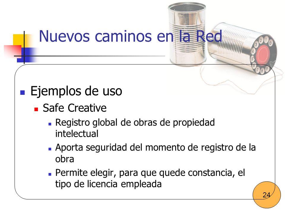 Nuevos caminos en la Red Ejemplos de uso Safe Creative Registro global de obras de propiedad intelectual Aporta seguridad del momento de registro de l