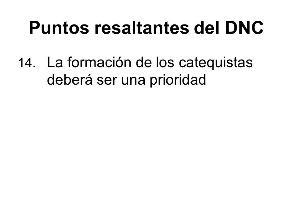 Puntos resaltantes del DNC 14. La formación de los catequistas deberá ser una prioridad