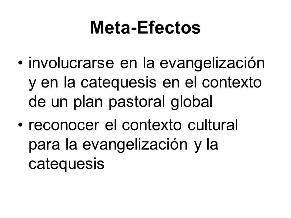 Meta-Efectos involucrarse en la evangelización y en la catequesis en el contexto de un plan pastoral global reconocer el contexto cultural para la evangelización y la catequesis