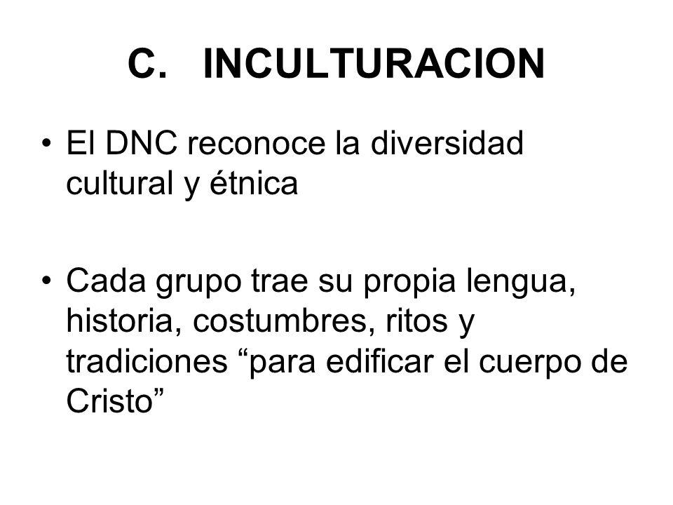 C. INCULTURACION El DNC reconoce la diversidad cultural y étnica Cada grupo trae su propia lengua, historia, costumbres, ritos y tradiciones para edif