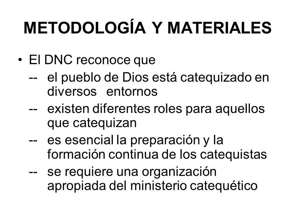 METODOLOGÍA Y MATERIALES El DNC reconoce que -- el pueblo de Dios está catequizado en diversos entornos -- existen diferentes roles para aquellos que