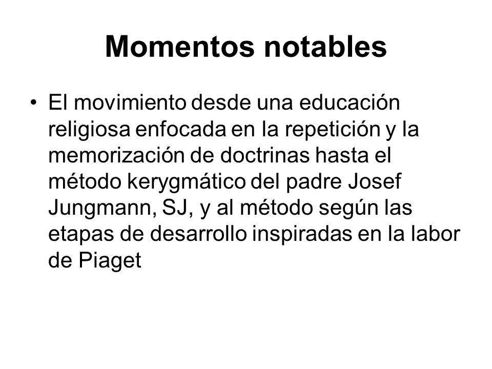 Momentos notables El movimiento desde una educación religiosa enfocada en la repetición y la memorización de doctrinas hasta el método kerygmático del
