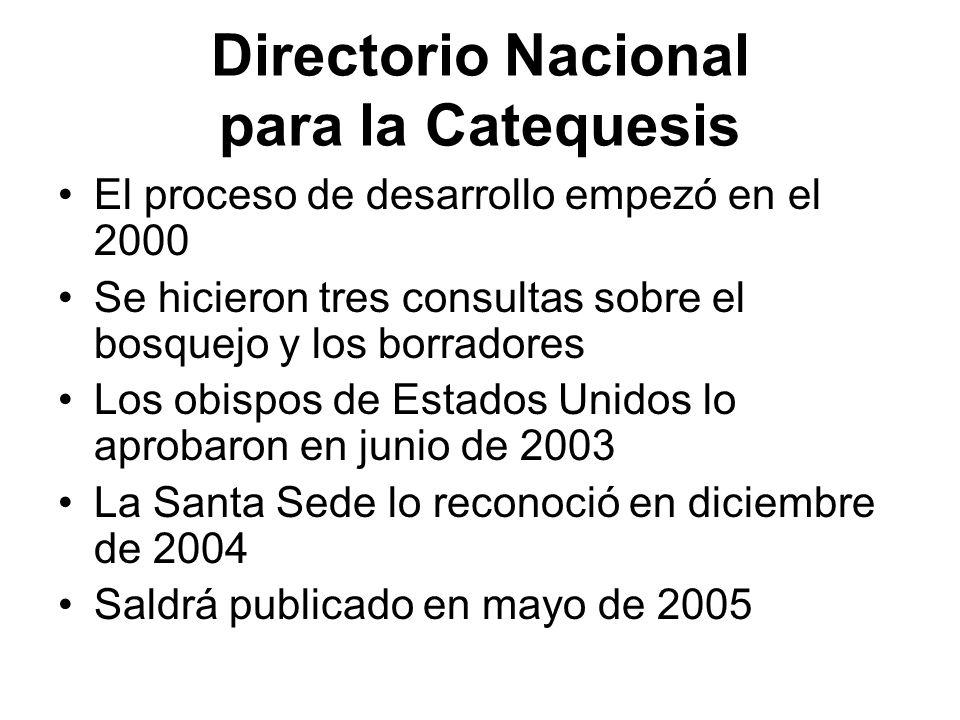 Directorio Nacional para la Catequesis El proceso de desarrollo empezó en el 2000 Se hicieron tres consultas sobre el bosquejo y los borradores Los ob