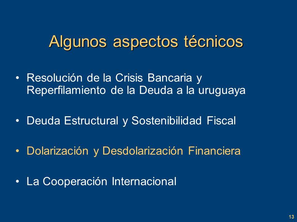 13 Algunos aspectos técnicos Resolución de la Crisis Bancaria y Reperfilamiento de la Deuda a la uruguaya Deuda Estructural y Sostenibilidad Fiscal Dolarización y Desdolarización Financiera La Cooperación Internacional