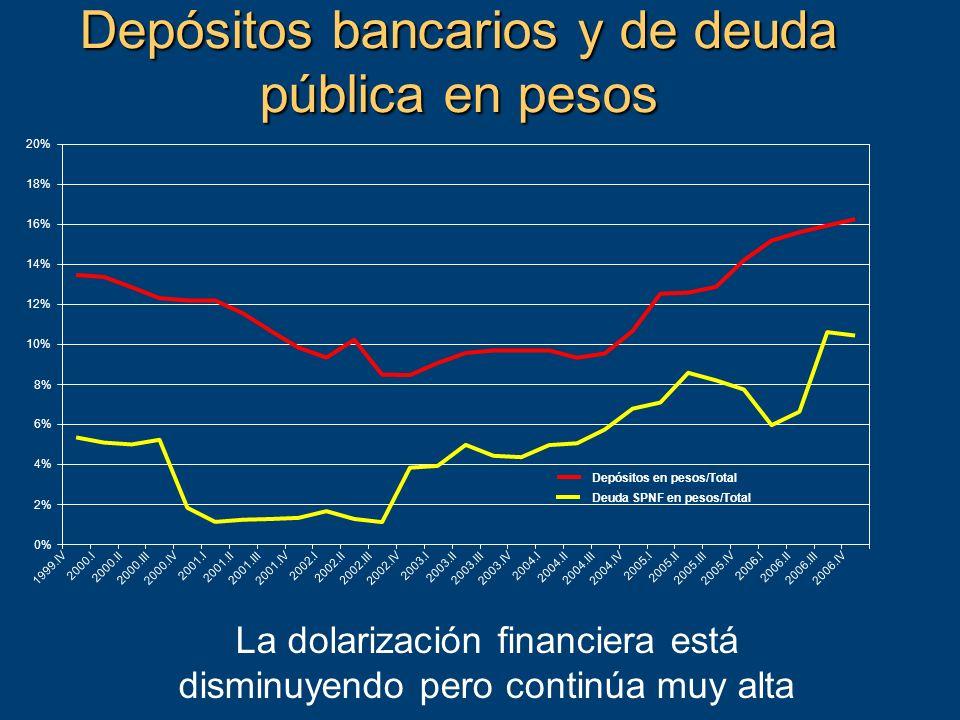 Depósitos bancarios y de deuda pública en pesos La dolarización financiera está disminuyendo pero continúa muy alta 0% 2% 4% 6% 8% 10% 12% 14% 16% 18% 20% 1999.IV 2000.I 2000.II 2000.III 2000.IV 2001.I 2001.II 2001.III 2001.IV 2002.I 2002.II 2002.III 2002.IV 2003.I 2003.II 2003.III 2003.IV 2004.I 2004.II 2004.III 2004.IV 2005.I 2005.II 2005.III 2005.IV 2006.I 2006.II 2006.III 2006.IV Depósitos en pesos/Total Deuda SPNF en pesos/Total