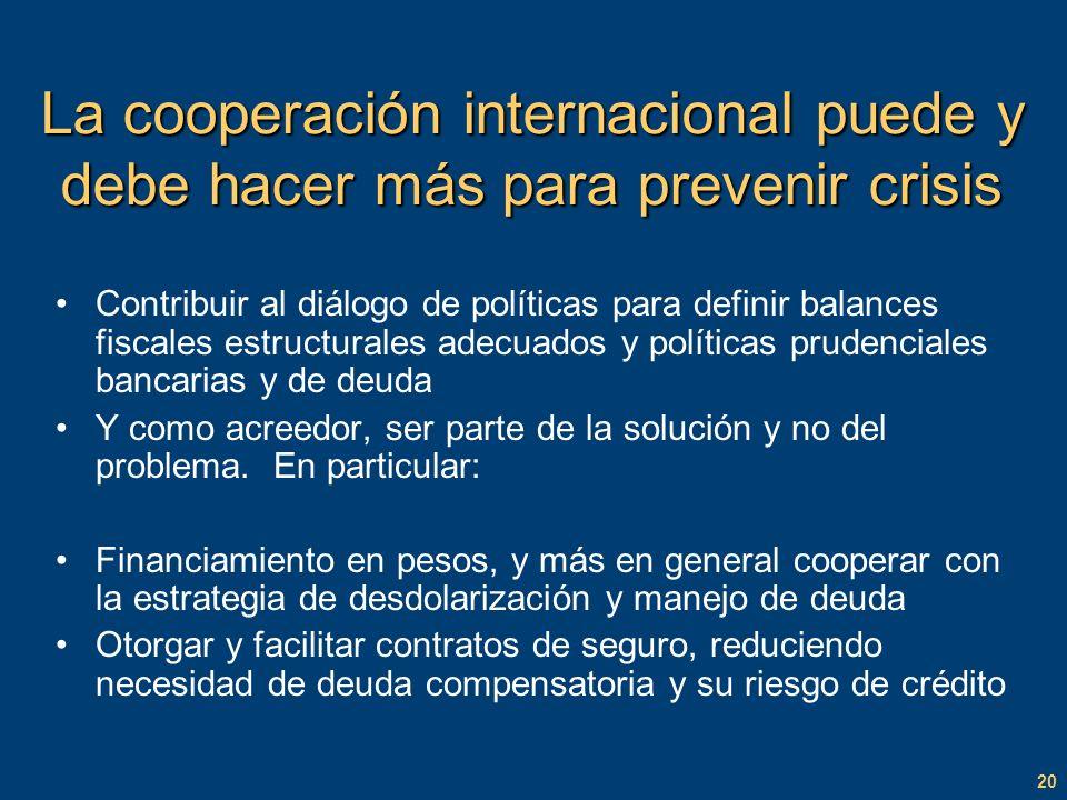 20 La cooperación internacional puede y debe hacer más para prevenir crisis Contribuir al diálogo de políticas para definir balances fiscales estructurales adecuados y políticas prudenciales bancarias y de deuda Y como acreedor, ser parte de la solución y no del problema.