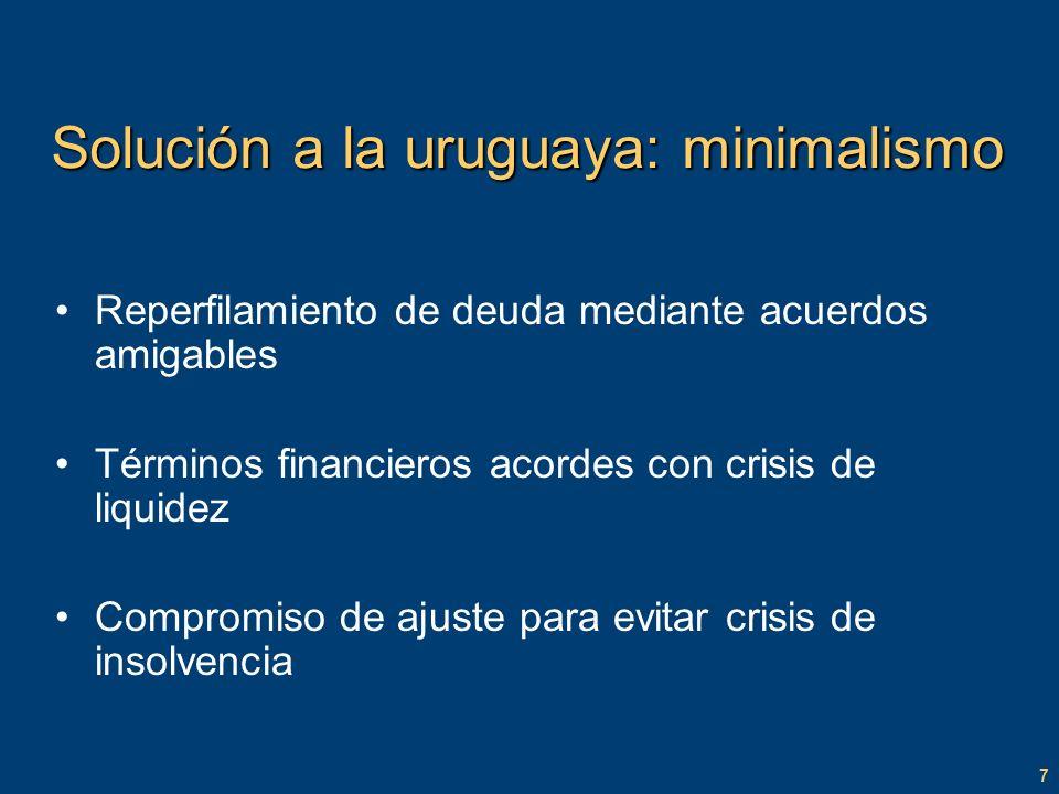 7 Solución a la uruguaya: minimalismo Reperfilamiento de deuda mediante acuerdos amigables Términos financieros acordes con crisis de liquidez Compromiso de ajuste para evitar crisis de insolvencia