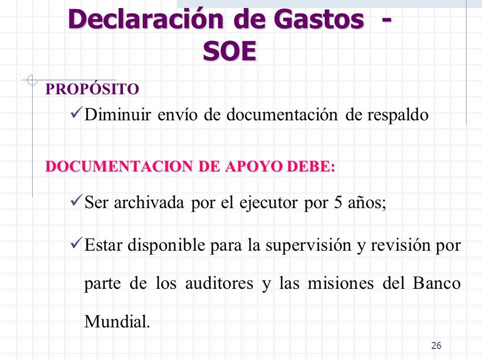 25 Procedimentos de Extracción - SOE/SS Límites para uso de SOE ou SS Valores establecidos para cada Carta de Desembolso Elegibilidad para el uso de S