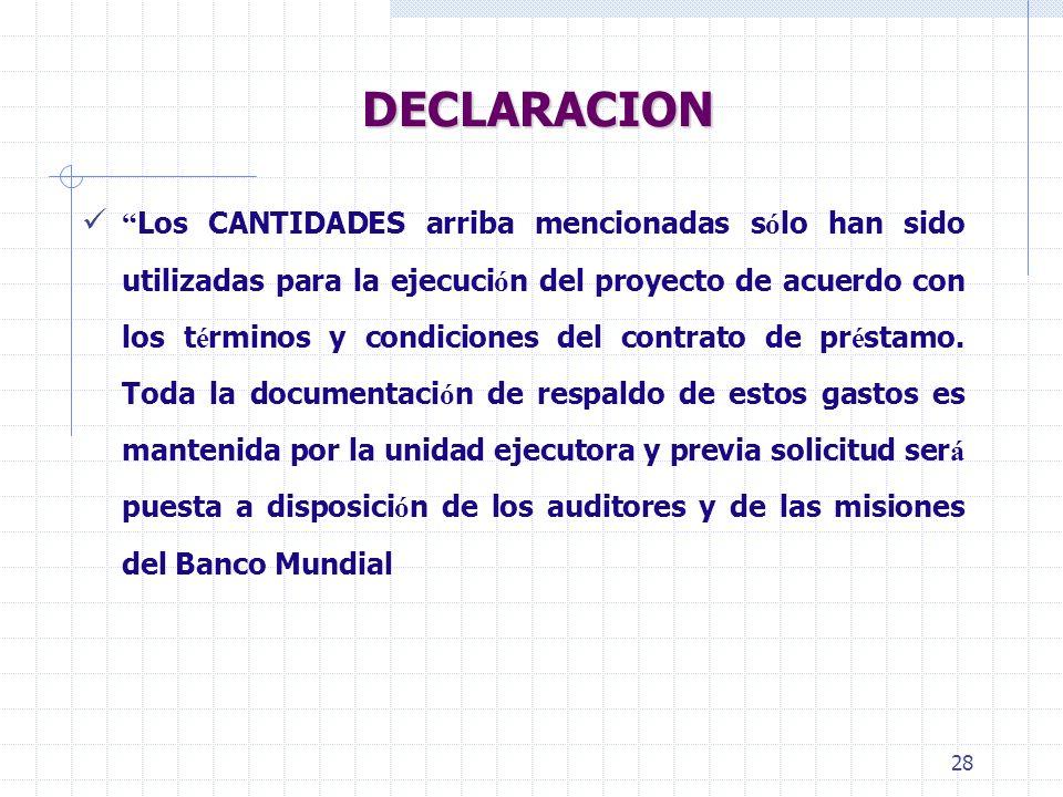 27 Declaración de Gastos - SOE OBSERVAR: Separar SOEs por categoría Informar subtotal por página y total por categoría