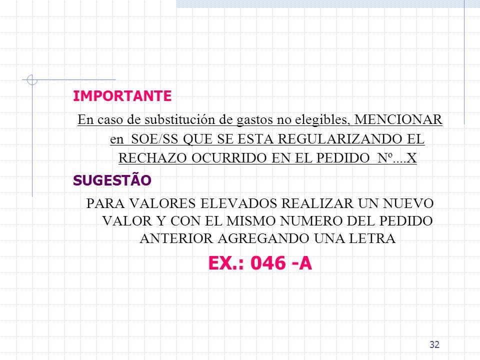 31 Gasatos no elegibles CASO EXISTAN, SE DEBE Devolver los recursos a la Cuenta Especial y remitir comprobante de depósito al BM Substituir por otros