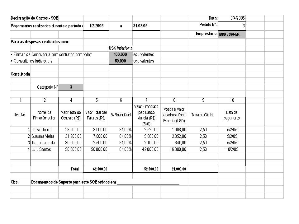 Fue realizado el pago único al consultor Lulu Santos por el valor de $ 50.000,00, el día 05/02/05, elegible bajo la Cat. 3. Fueron efectuados los sigu