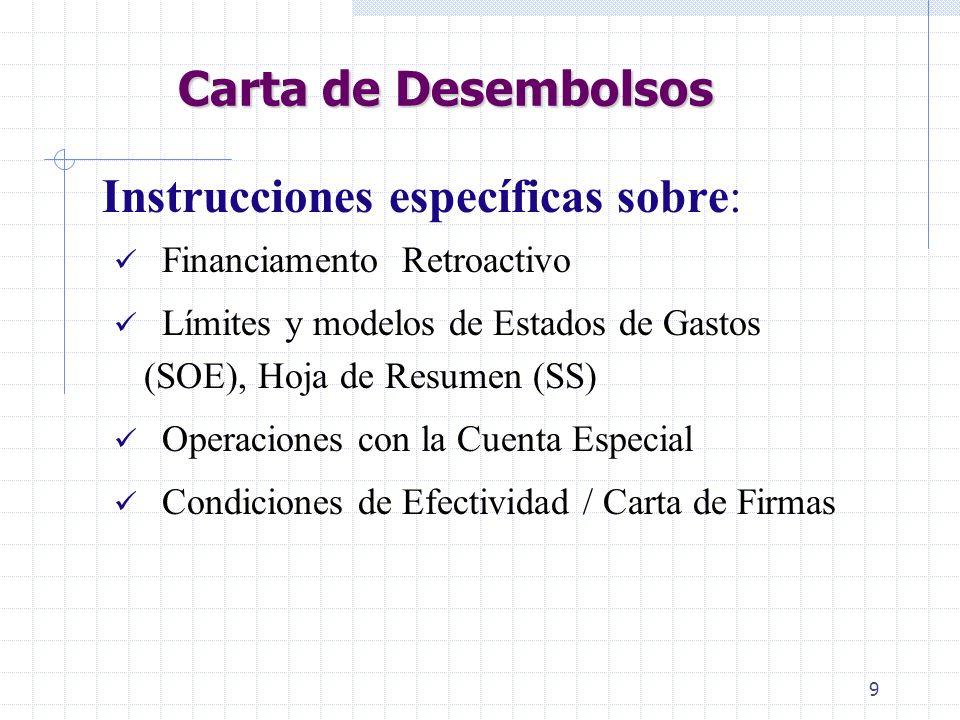 9 Carta de Desembolsos Instrucciones específicas sobre: Financiamento Retroactivo Límites y modelos de Estados de Gastos (SOE), Hoja de Resumen (SS) Operaciones con la Cuenta Especial Condiciones de Efectividad / Carta de Firmas