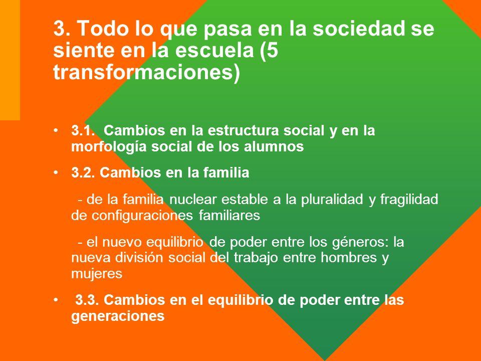 3. Todo lo que pasa en la sociedad se siente en la escuela (5 transformaciones) 3.1. Cambios en la estructura social y en la morfología social de los