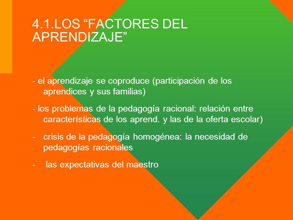 4.1.LOS FACTORES DEL APRENDIZAJE - el aprendizaje se coproduce (participación de los aprendices y sus familias) - los problemas de la pedagogía racion