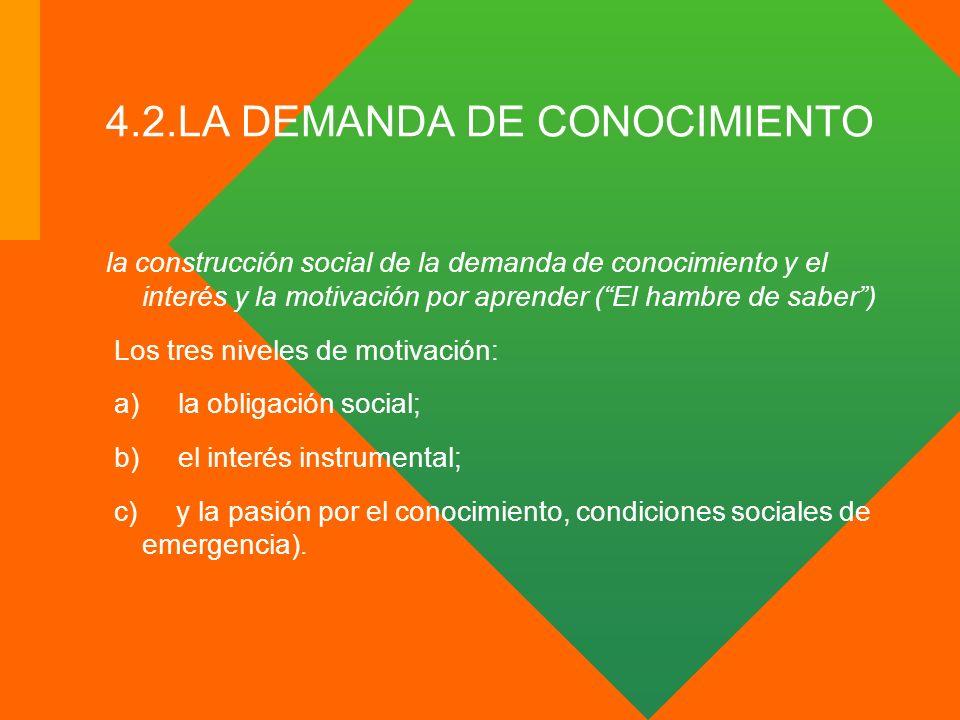 4.2.LA DEMANDA DE CONOCIMIENTO la construcción social de la demanda de conocimiento y el interés y la motivación por aprender (El hambre de saber) Los